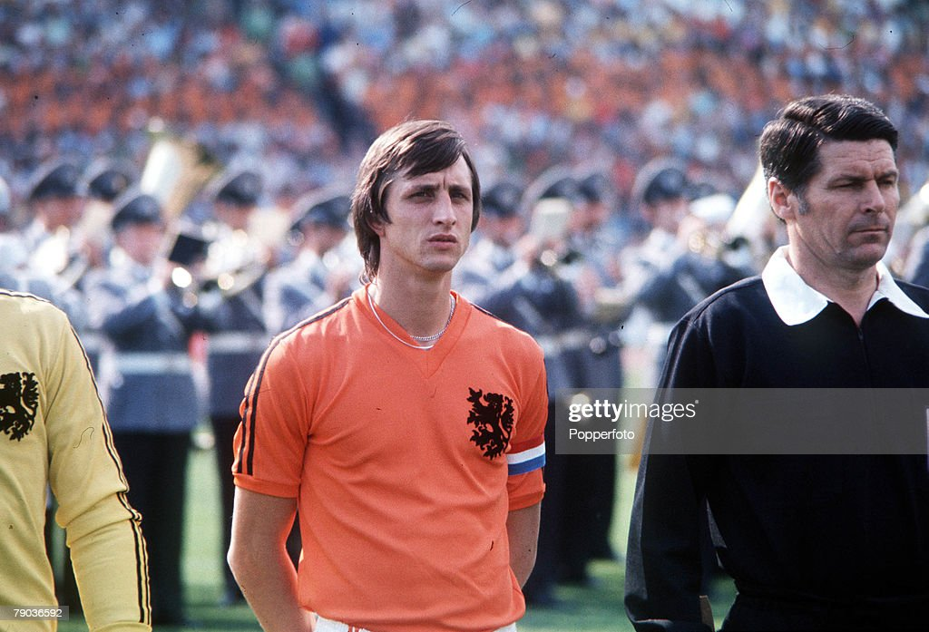 1974 World Cup Final. Munich, West Germany. 7th July, 1974. West Germany 2 v Holland 1. Holland's Johan Cruyff lines up before the match. : News Photo