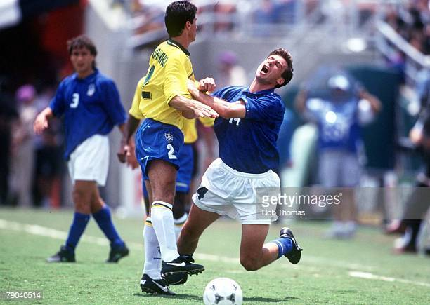 World Cup Final Pasadena USA 17th July Brazil 0 v Italy 0 Brazil won 32 on penalties Italy's Nicola Berti is fouled by Brazil's Mazinho
