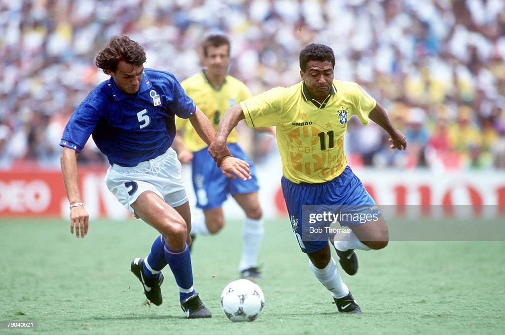 1994 World Cup Final. Pasadena, USA. 17th July, 1994. Brazil 0 v Italy 0. (Brazil won 3-2 on penalties. Brazil's Romario in action with Italy's Paolo Maldini : News Photo