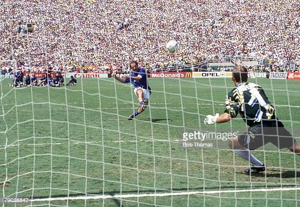 World Cup Final Pasadena USA 17th July Brazil 0 v Italy 0 Brazilian goalkeeper Taffarel goes to dive as Italy's Franco Baresi misses his penalty kick