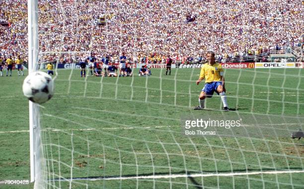 World Cup Final Pasadena USA 17th July Brazil 0 v Italy 0 Brazilian captain Dunga scores the third penalty for Brazil in the shootout