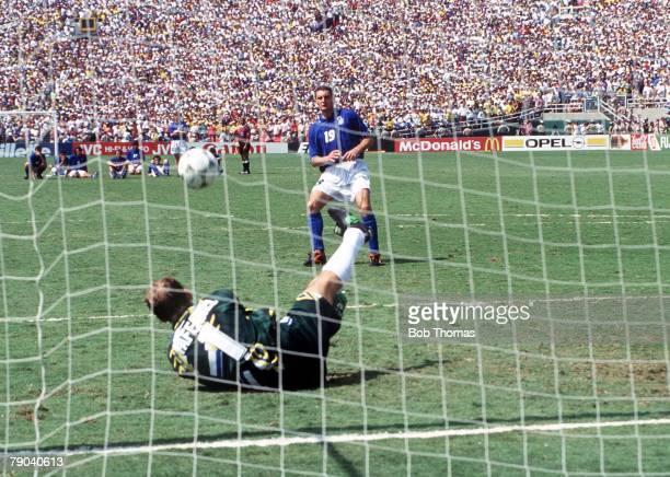 World Cup Final Pasadena USA 17th July Brazil 0 v Italy 0 Brazilian goalkeeper Taffarel saves a penalty from Italy's Daniele Massaro in the shootout