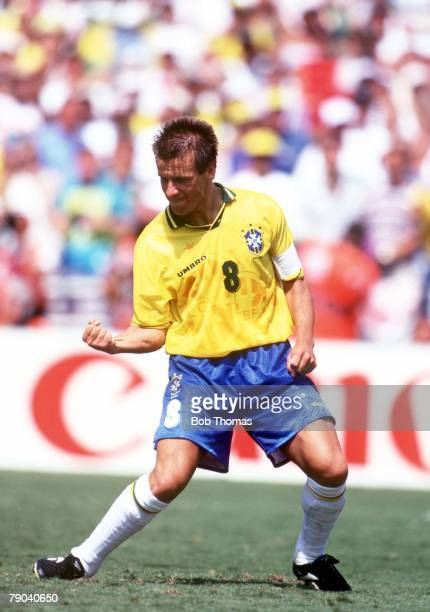 World Cup Final, Pasadena, USA, 17th July Brazil 0 v Italy 0, , Brazilian captain Dunga celebrates after he scored the third penalty for Brazil in...
