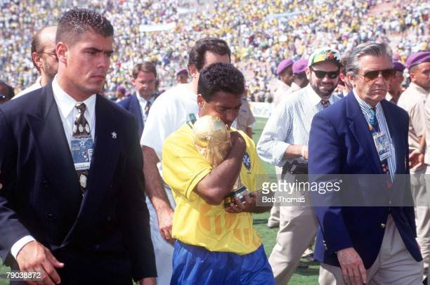 World Cup Final Pasadena USA 17th July Brazil 0 v Italy 0 Brazil's Romario cradles the World Cup trophy after their win
