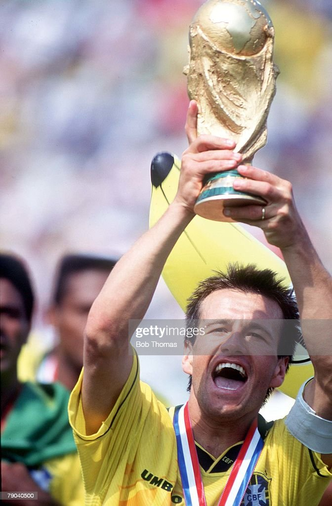 World Cup Final, Pasadena, USA, 17th July, 1994, Brazil 0 v Italy 0, (Brazil won 3-2 on penalties) Brazil's captain Dunga holds the trophy after the match