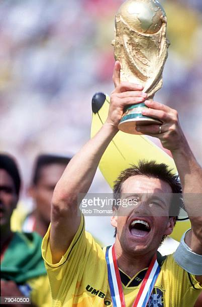 World Cup Final, Pasadena, USA, 17th July Brazil 0 v Italy 0, Brazil's captain Dunga holds the trophy after the match