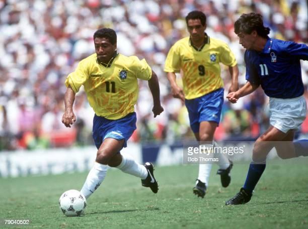 World Cup Final Pasadena USA 17th July Brazil 0 v Italy 0 Brazil's Romario gets away from Italy's Demetrio Albertini