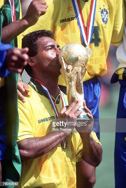 World Cup Final Pasadena USA 17th July Brazil 0 v Italy 0 Brazil's Romario kisses the trophy after the match