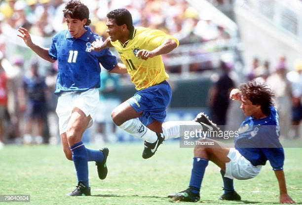 World Cup Final Pasadena USA 17th July Brazil 0 v Italy 0 Brazil's Romario gets away from Italy's Demetrio Albertini and Antonio Benarrivo