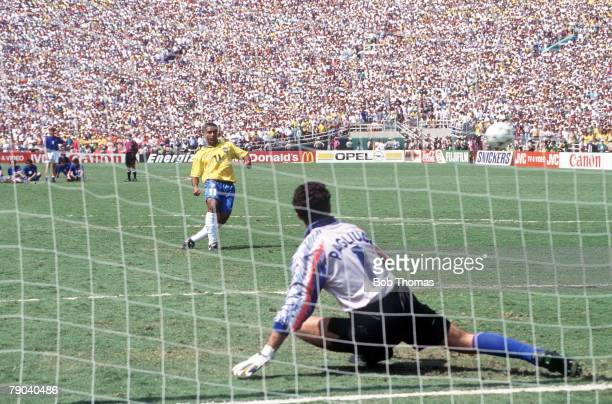 World Cup Final Pasadena USA 17th July Brazil 0 v Italy 0 IItaly's goalkeeper Gianuca Pagliuca dives the wrong way as Brazil's Romario scores his...
