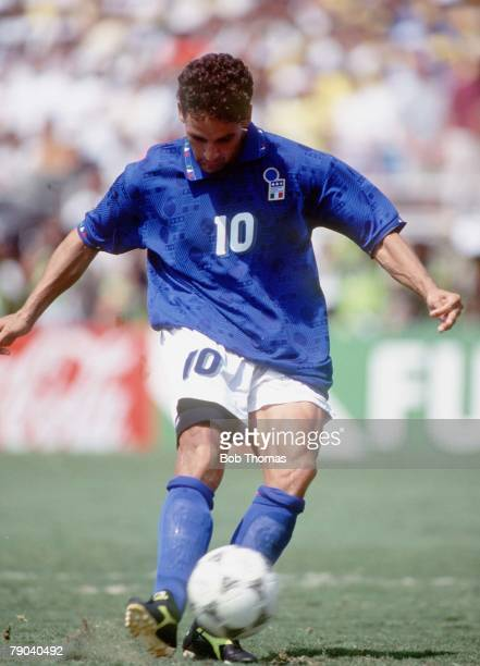 World Cup Final Pasadena USA 17th July Brazil 0 v Italy 0 Italy's Roberto Baggio takes a penalty which he misses handing the World Cup to Brazil