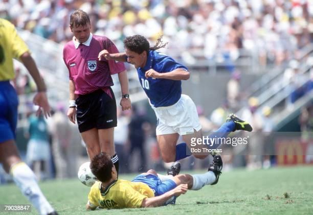 World Cup Final, Pasadena, USA, 17th July Brazil 0 v Italy 0, , Italy's Roberto Baggio is fouled Brazil's captain Dunga