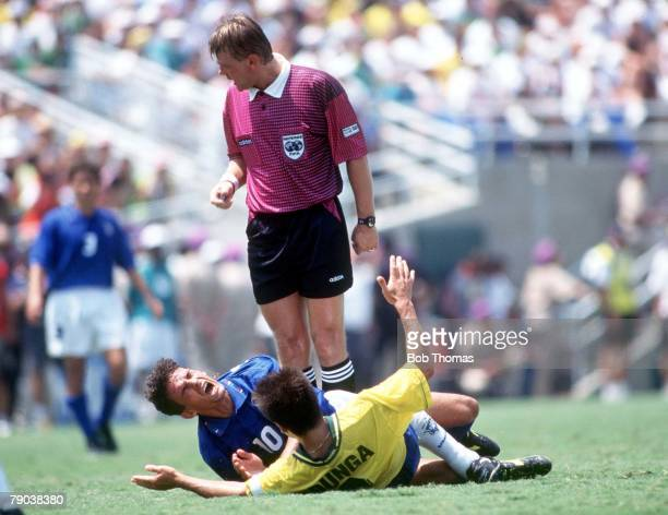 World Cup Final, Pasadena, USA, 17th July Brazil 0 v Italy 0, , Italy's Roberto Baggio shouts in pain after a challenge by Brazil's captain Dunga...