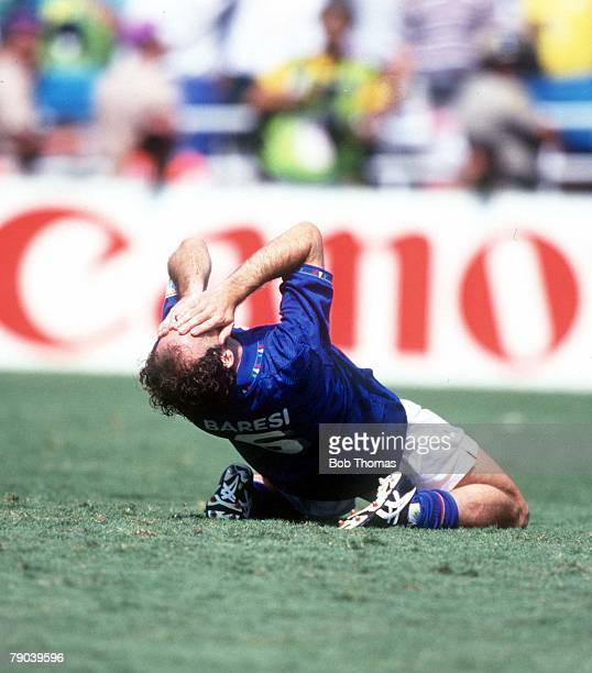 World Cup Final Pasadena USA 17th July Brazil 0 v Italy 0 Italy's Franco Baresi holds his head in his hands after missing the first penalty