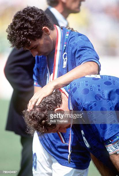 World Cup Final Pasadena USA 17th July Brazil 0 v Italy 0 Italy's Franco Baresi and Roberto Baggio are dejected after they missed penalties in the...