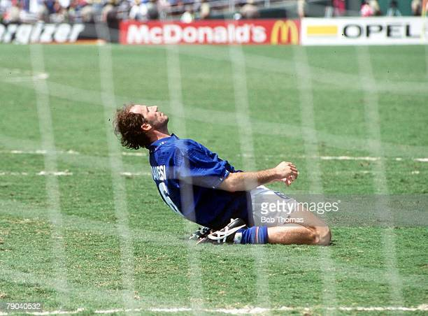 World Cup Final Pasadena USA 17th July Brazil 0 v Italy 0 Italy's Franco Baresi sinks to his knees in dejection after his penalty miss