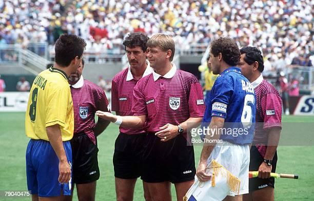 World Cup Final Pasadena USA 17th July Brazil 0 v Italy 0 Match referee Sandor Puhl flips a coin for Brazilian captain Dunga as Italian captain...