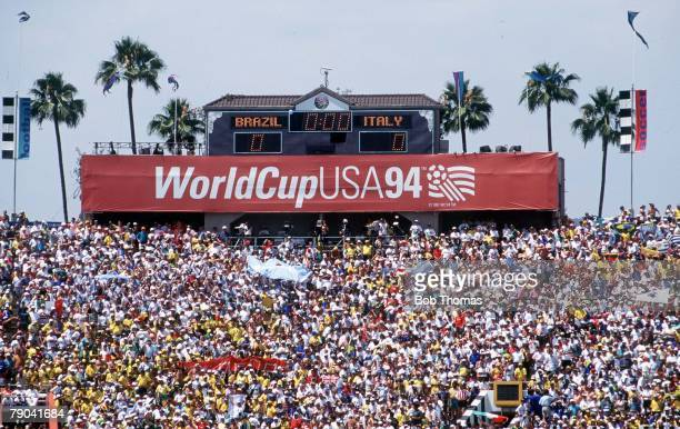 World Cup Final Pasadena USA 17th July Brazil 0 v Italy 0 The scoreboard at the Pasadena Rose Bowl during the match