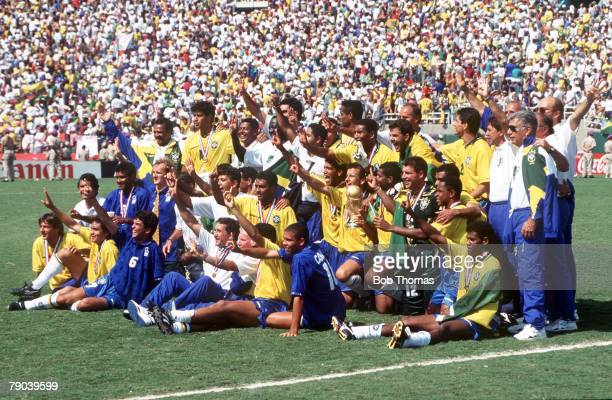 World Cup Final Pasadena USA 17th July Brazil 0 v Italy 0 The Brazilian team celebrate with the World Cup trophy after the match