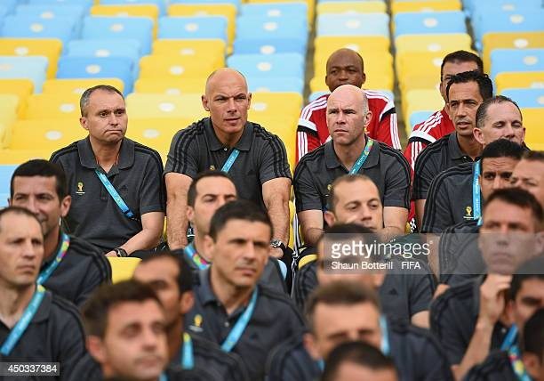 World Cup Final referee Howard Webb and assistants Mike Mullarkey and Darren Cann attend GLT training at Maracana on June 7 2014 in Rio de Janeiro...