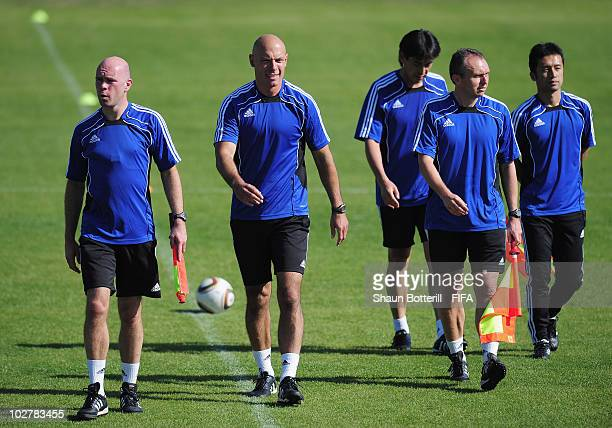 World Cup Final referee Howard Webb and his assistants Darren Cann and Michael Mullarkey finish a training session at the Final Referee's Media Day...