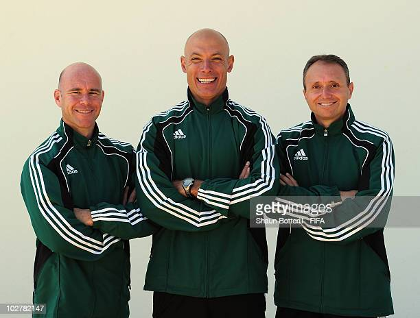 World Cup Final referee Howard Webb with his assistants Darren Cann and Michael Mullarkey pose for a photo at thereferee's hotel on July 10 2010 in...