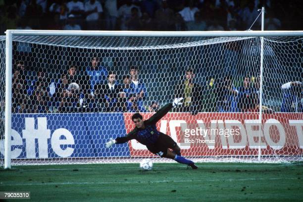 World Cup Final Rome Italy 8th July West Germany 1 v Argentina 0 Argentina's goalkeeper Sergio Goycochea dives but can not stop Andreas Brehme's...