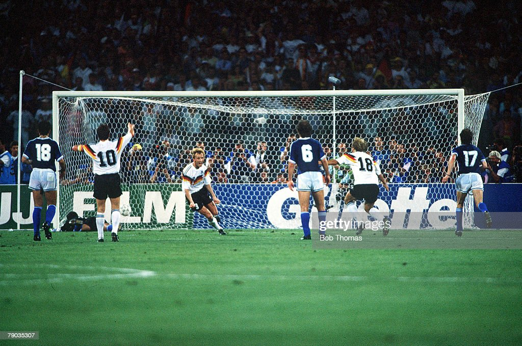 1990 World Cup Final. Rome, Italy. 8th July, 1990. West Germany 1 v Argentina 0. West Germany's Andreas Brehme scores the game's only goal from the penalty spot to win the World Cup. : News Photo