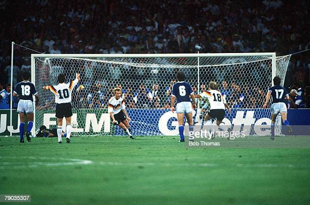 World Cup Final Rome Italy 8th July West Germany 1 v Argentina 0 West Germany's Andreas Brehme scores the game's only goal from the penalty spot to...