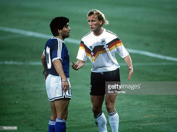 World Cup Final Rome Italy 8th July West Germany 1 v Argentina 0 West Germany's Andreas Brehme talks to Argentina's Diego Maradona