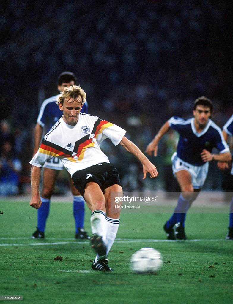 1990 World Cup Final. Rome, Italy. 8th July, 1990. West Germany 1 v Argentina 0. West Germany's Andreas Brehme scores the game's only goal fom the penalty spot to win the World Cup. : News Photo