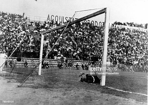 World Cup Final Rome Italy Italy 2 v Czechoslovakia 1 10th June Italian goalkeepr Combi is beaten as Puc scores to put Czechoslovakia ahead in the...