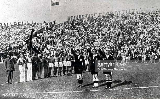 World Cup Final Rome Italy Italy 2 v Czechoslovakia 1 10th June Referee Ecklind of Sweden with linesman Birlem of Germany and Ivancics of Hungary...