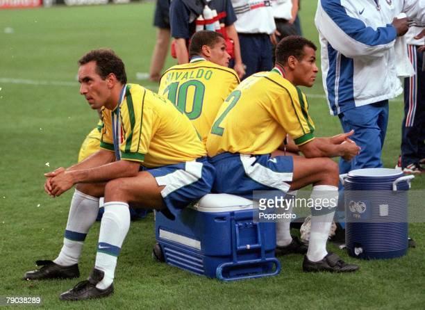 World Cup Final St Denis France 12th July France 3 v Brazil 0 Brazilians Edmundo Rivaldo and Cafu sit dejected after the match