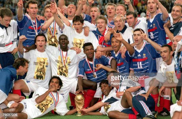 World Cup Final St Denis France 12th July France 3 v Brazil 0 France World Champions 1998 celebrate with the World Cup trophy