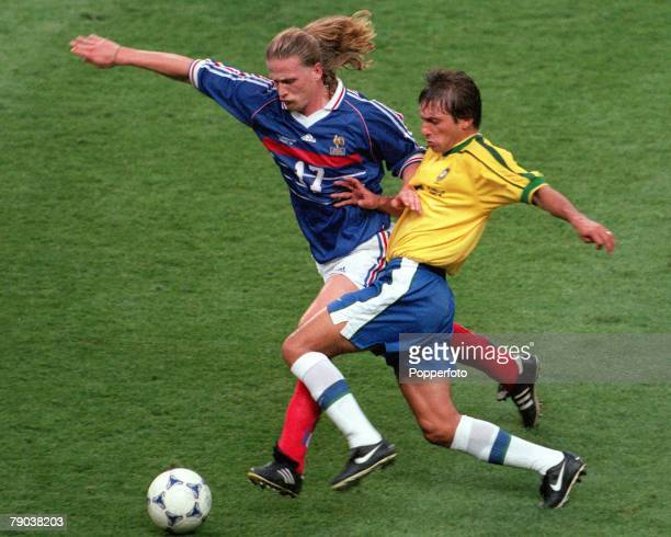 World Cup Final St Denis France 12th July France 3 v Brazil 0 France's Emmanuel Petit battles for the ball with Leonardo of Brazil