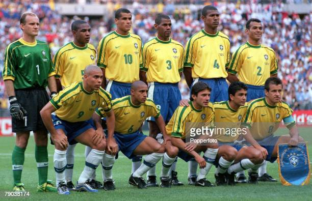 World Cup Final St Denis France 12th July France 3 v Brazil 0 The Brazilian team group before the match