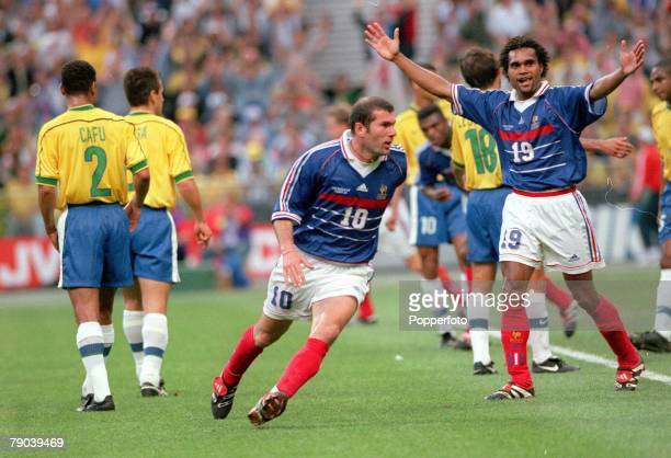 World Cup Final St Denis Paris France 12th JULY 1998 France 3 v Brazil 0 France's Zinedine Zidane turns away to celebrate after he scored the first...