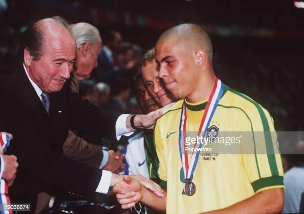 World Cup Final, St Denis, Paris, France, 12th July France 3 v Brazil 0, Brazil's Ronaldo with FIFA President Sepp Blatter