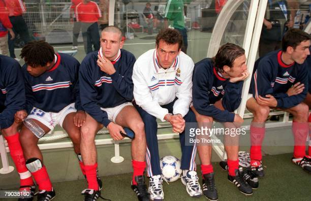 World Cup Final St Denis France 12th July France 3 v Brazil 0 France's Laurent Blanc sits the game out on the bench suspended after he was sent off...