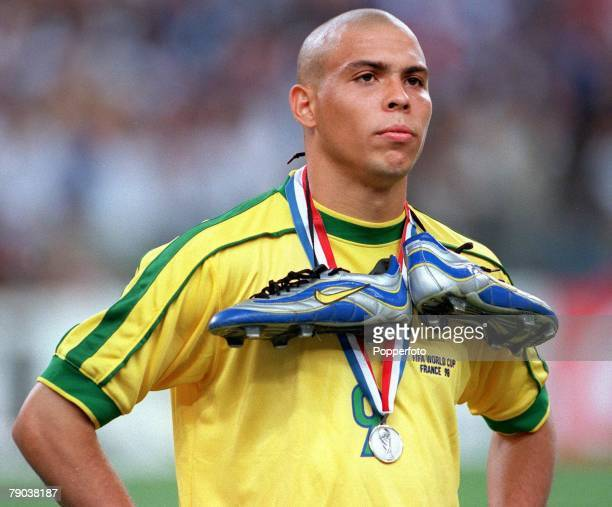 World Cup Final St Denis Paris France 12th July France 3 v Brazil 0 Brazil's Ronaldo stands dejected at the end with silver boots and silver medal