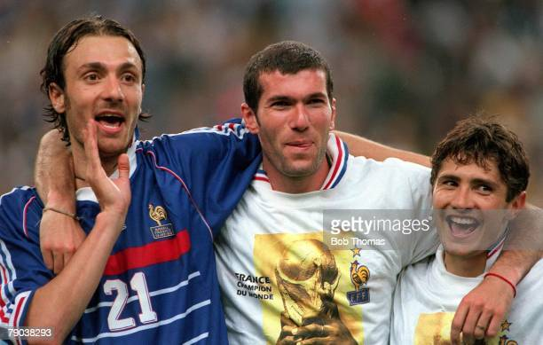 World Cup Final St Denis Paris France 12th July France 3 v Brazil 0 France's Christophe Dugarry Zinedine Zidane and Bixente Lizarazu celebrate after...