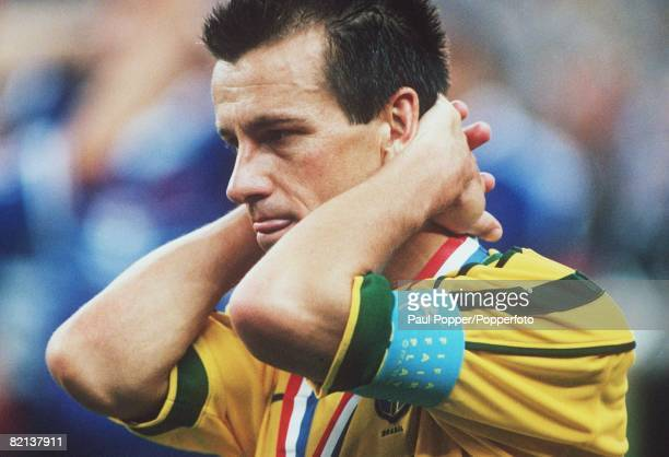 World Cup Final, St Denis, Paris, France, 12th July France 3 v Brazil 0, Brazil's captain Dunga holds his head in anguish after the game