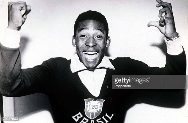 World Cup Final Stockholm Sweden 29th June Sweden 2 v Brazil 5 Brazil's Pele jubilant after the final in which he scored twice