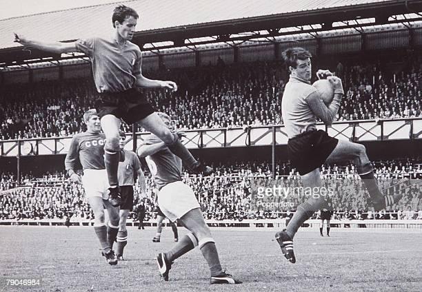 World Cup Final Sunderland England 16th July 1966 Soviet Union 1 v Italy 0 Italian goalkeeper Enrico Albertosi takes the ball from a Soviet attackers...