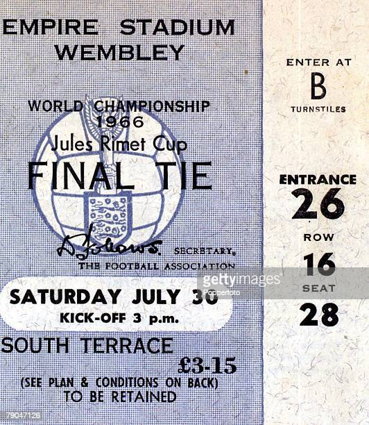 World Cup Final Wembley England 30th July 1966 England 4 v West Germany 2 A ticket fot the match