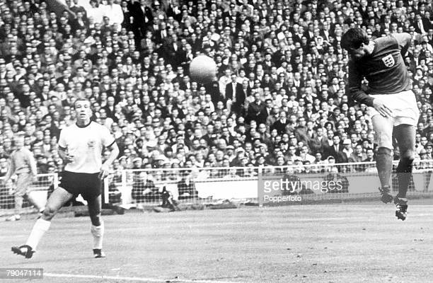 World Cup Final Wembley England 30th July 1966 England 4 v West Germany 2 England's Geoff Hurst scores his first goal to level the scores in the...