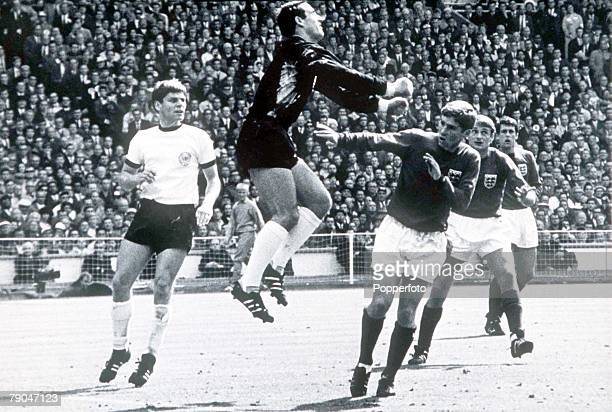 World Cup Final Wembley England 30th July 1966 England 4 v West Germany 2 West German goalkeeper Hans Tilkowski punches clear from England's Alan...