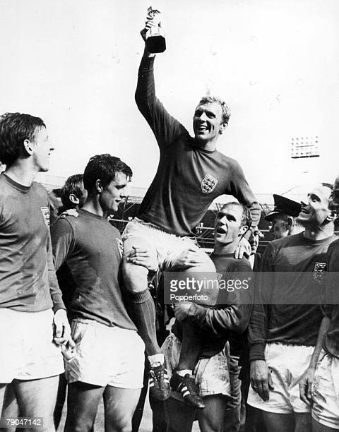 World Cup Final Wembley, England, 30th July, 1966 England 4 v West Germany 2, England's captain Bobby Moore holds aloft the Jules Rimet World Cup...