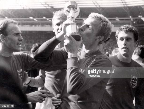 World Cup Final Wembley England 30th July 1966 England 4 v West Germany 2 England captain Bobby Moore kisses the Jules Rimet World Cup trophy after...